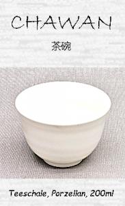 Japanische Teeschale (Chawan), weiß, Porzellan, 200ml