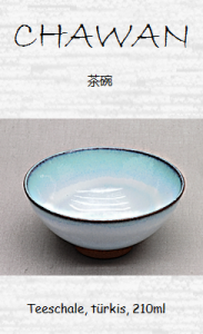 Japanische Teeschale, weiß & türkis, 210ml, 11,5 x 5,5 cm
