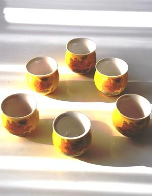 Teebecher-Set 'Golden Flower', 6-tlg., Porzellan, doppelwandig