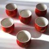 Chinesisches Teebecher / Teetassen Set 'Red Flower', Porzellan, doppelwandig, henkellos