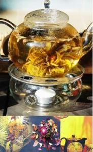 Teeblumen-Kunst aus Teeblüten und anderen Blütenalbwilden Teebäumen nahe Mae Taeng, Northailan