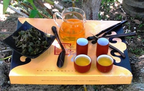 Monsoon Blend Oolong Thai-Teemischung, heiß zubrereitet in Garten-Teezeremonie