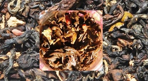 Monsoon Blend Black shwarze Thai-Teemischung, Blattmaterial vor und nach dem Aufgusscken & nasse _dry&wet_collagejpg