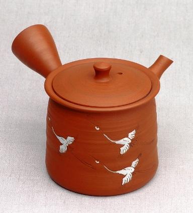 Japanische Kyusu Teekanne, rot, Kranich-Motiv, 130ml, handgearbeitet aus Ton