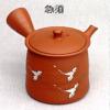 Japanisches Kyusu-Teekännchen, Kranich, handgearbeitet, Ton, 130ml