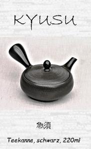 Japanische Teekanne, schwarz, 220ml, Handarbeit aus Ton