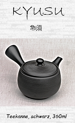 Japanische Kyusu Teekanne, schwarz, 360ml