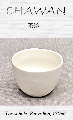 Japanische Teeschale (Chawan), Porzellan, weiß, 120ml