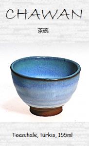 Japanische Teeschale (Chawan), türkis, 155ml