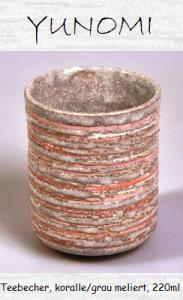 Japanischer Tee-Becher (Yunomi), koralle/grau meliert, 220ml