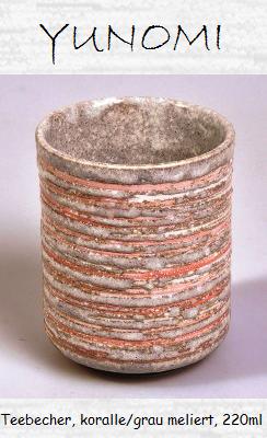 Tee-Becher (Yunomi), koralle/grau meliert, 220ml