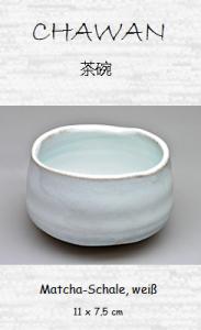 Japanische Matcha-Tee-Schale, weiß, 11 x 7,5 cm