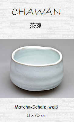 Matcha-Tee-Schale (Chawan), weiß 11 x 7,5 cm
