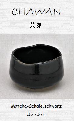 Matcha-Tee-Schale (Chawan), schwarz 11 x 7,5 cm