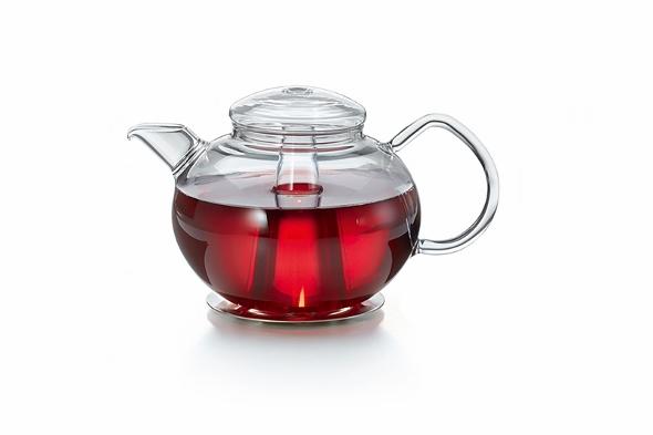 Leucht-Teekanne 'Illuminata': von innen erleuchtete Glas-Teekanne mit Edelstahl-Stövchen