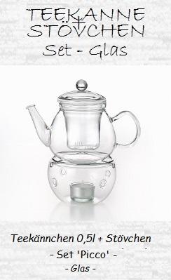 Glas-Teekanne mit Stövchen, Set 'Picco'