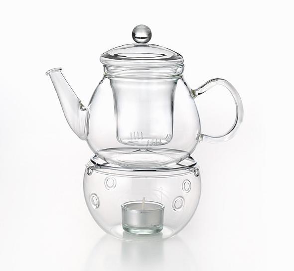 Glas-Teekanne mit Stövchen und Sieb-Einsatz, Set Picco