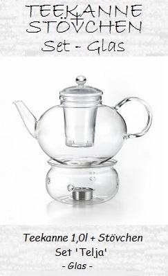 (Glas-) Teekanne mit Stövchen, Set 'Telja'