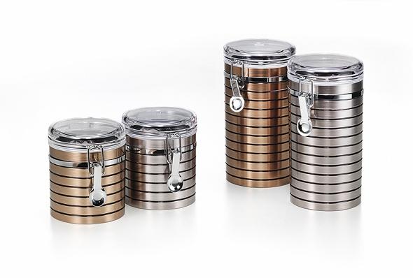 Teedose Hasine, 150g /250g, Metall / Kunststoff, rund, Platin- oder Kupferoptik
