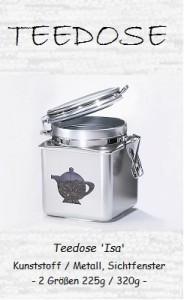 Teedose Isa: Kunststoffbehälter mit Sichtfenster, chromefarben