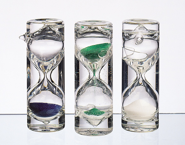 Tee-Sanduhr, Set 'Tea Time', mundgeblasen, 3 Farben grün, blau, weiß, 1-3 Minuten