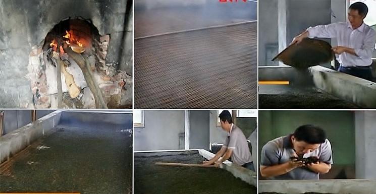 """Rösten auf """"Qixing Zhao""""-Ofen mit Kiefernholzfeuer unter einer großflächigen Bambus-Aufnahme für die Teeblätter"""